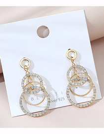 Fashion Golden Real Gold Plated Large Circle Hollow Crystal