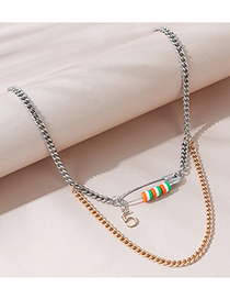 Fashion Color Striped Bead Chain Multilayer Necklace