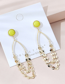 Fashion Yellow Real Gold Plated Tassel Small Disc Earrings