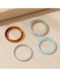 Fashion Color Resin Round Ring Set