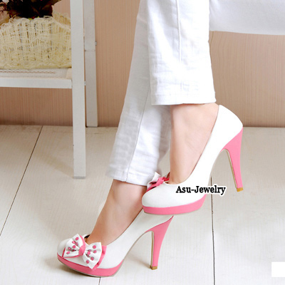 Pendants White Lovely Bow Tie High Heel PU Pumps