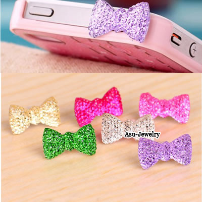 Adjustable Color will be random Bow Tie  Design PVC Anti-Dust Plug