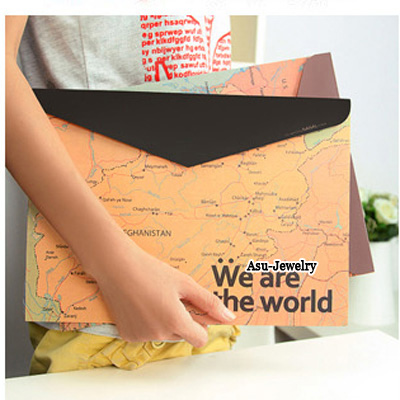 Decorative Multicolour Retro Map Design Paper Pencil Case Paper Bags