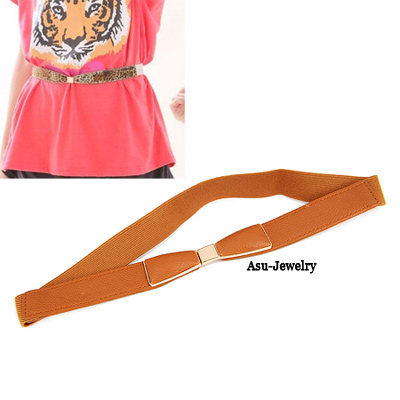Victorian Brown Candy Color Bow Tie PU Wide belts