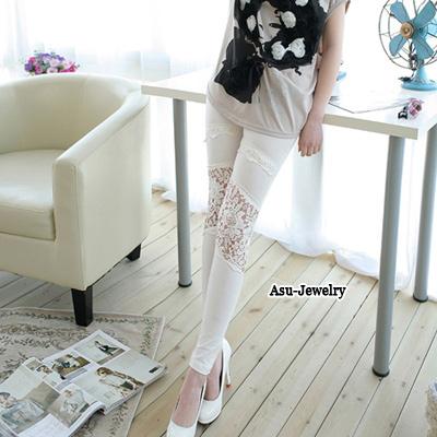 Pretty White Hook Flower Design Cotton Trousers