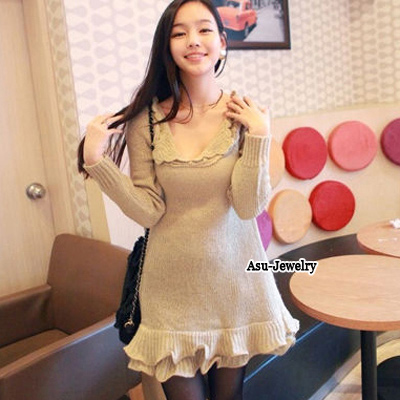 Evil Khaki Lace Lapel  Long Pullover Imitation wool Sweater