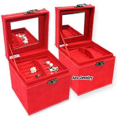 Charming Red Square Shape  Design PU Jewelry box
