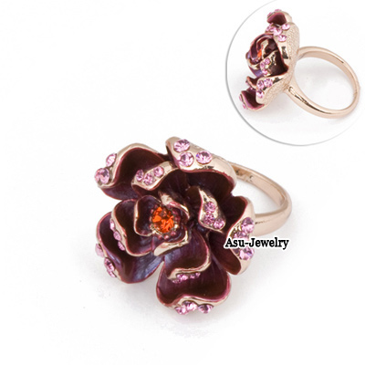 Photograph Pink Three Layer Petal Alloy Fashion Rings