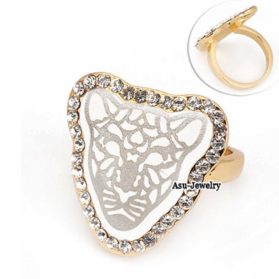 Sparking Gold Color Tiger Head Alloy Fashion Rings