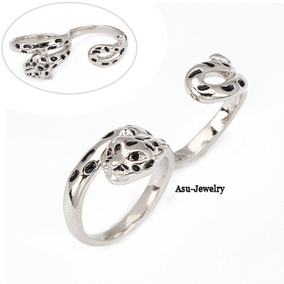 Diy Silver Color Leopard Diamond Alloy Fashion Rings
