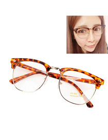 Current With Leopard Frame Fashion Rivet  Design Resin Fashon Glasses
