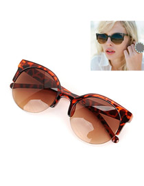 Lilac With Leopard Frame Fashion Half Frame Design Resin Sunglasses
