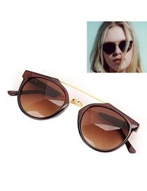 Sling With Brown Frame Transverse Edge Frame Design Resin Women Sunglasses