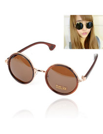Catholic With Coffee Frame Round Shape Lens Design Resin Women Sunglasses