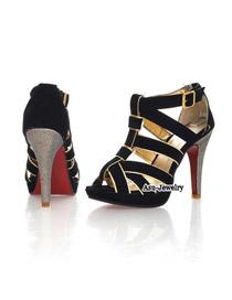 Beaded Black Matching Cross Design Leather Sandals