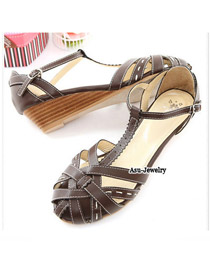 Milly Brown Ribbon Cross PU Sandals