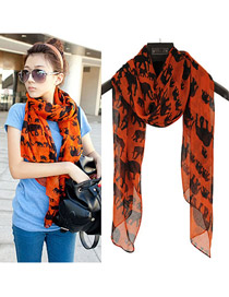 Mechanical Orange Elephant Pattern Fibre Fashion Scarves