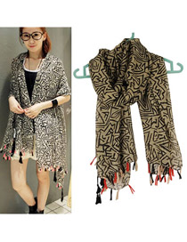 Autism Khaki Geometric Figure Pattern Cotton Fashion Scarves