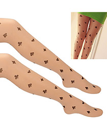 Peridot Fleshcolor Playing Cards Pattern  Design Yarn Tattoo Stockings