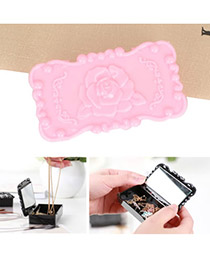Street Pink Rose Design Square Shape Plastic Jewelry box