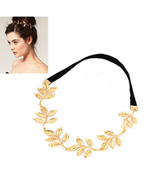 Stylish Gold Color Olive Branch Alloy Hair band hair hoop