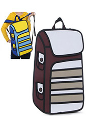 Business Brown Stereoscopic Effect Design PVC Backpack