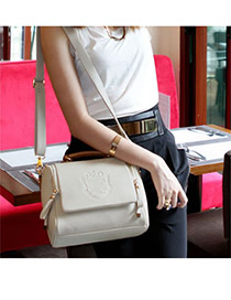 Uniqe Beige Simple Design PU Shoulder bags