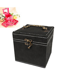 Embossed Black Three Layer Design Cotton Jewelry box