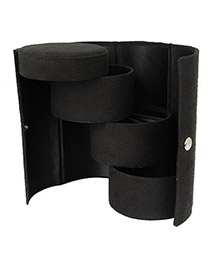Double Black Cylinder Shape  Design Cotton Jewelry box