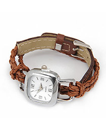 Promotiona Brown Lock Shape Weave Alloy Ladies Watches