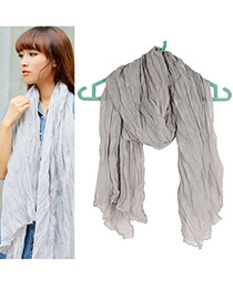Cool Gray Fold Design Cotton Thin Scaves