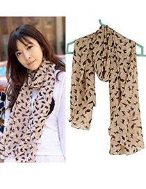 Automatic Khaki Cat Pattern Chiffon Fashion Scarves