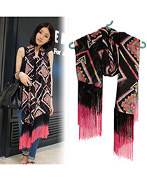 Trendy Black Gradual Change Color Tassels Cotton Fashion Scarves