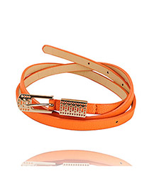Elegant Orange Hollow Out Pendant Candy Color PU Thin belts