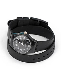 Corporate Black Candy Color Double Layer Watchband Alloy Fashion Watches