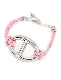 Tattoo Pink Pure Color Weave PU Korean Fashion Bracelet