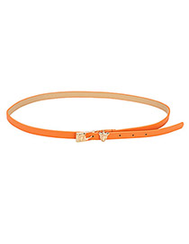 Connor Orange Leopard Buckle PU Thin belts