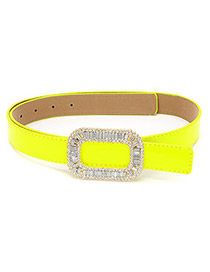 Convertibl Yellow Square With Cz Diamond PU Thin belts
