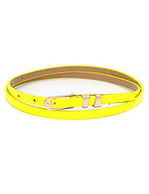 Crinkle Yellow Any Color Pu Leather PU Thin belts