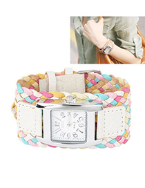 Padded White Candy Color Weave Rope Alloy Ladies Watches