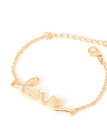 Luxurious Gold Color Personality Love Design Alloy Korean Fashion Bracelet