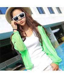 Handmade Green Uv Protection Ultrathin Cardigan Fibre Coat-Jacket