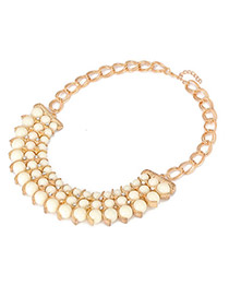 Sparking White Round Bead Elegant Design Acrylic Korean Necklaces