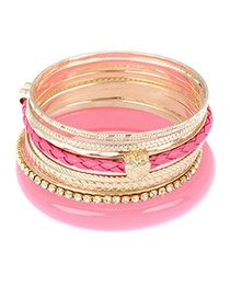 Formal Plum Red Elegant Pendant Multilayer Alloy Fashion Bangles