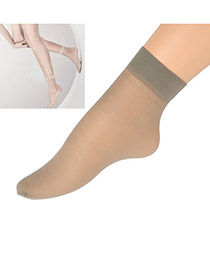 Order Gray Pure Color Ultra Thin Design Core Spun Spandex Fashion Socks