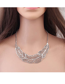Male Antique Silver Hollow Out Leaf Pendant Alloy Bib Necklaces