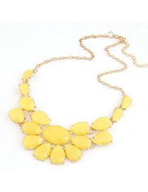 Sample Yellow Multilayer Water Drop Gemstone Decorated Design Alloy Bib Necklaces