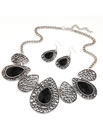 Liquid Black Hollow Out Water Drop Pattern Design Alloy Jewelry Sets