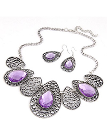 Pleated Purple Hollow Out Water Drop Pattern Design Alloy Jewelry Sets