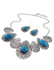 American Sapphire Hollow Out Water Drop Pattern Design Alloy Jewelry Sets